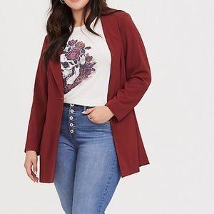 Torrid 5x dark red crepe longline blazer